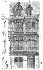 Ancienne abbaye de Saint-Amand -  ... La figure 29, qui reproduit une portion d'habitation de l'abbaye de Saint-Amand, à Rouen, laisse voir au-dessus d'un rez-de-chaussée en maçonnerie deux étages de pans de bois entièrement garnis, à  l'extérieur,  de panneaux de menuiserie sculptés. Lorsqu'un peu plus tard, avec la Renaissance, on en revint aux constructions de pierre, cette habitude s'était si bien conservée que l'on bâtit encore un grand nombre de maisons de bois, mais dans lesquelles cependant on trouve des formes de pilastres et de bandeaux qui n'appartiennent point au système de  construction en charpente ...