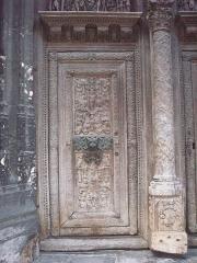 Eglise Saint-Maclou - Détail de la porte Renaissance, sur le portail nord de l'église Saint-Maclou.