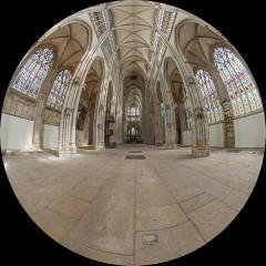 Eglise Saint-Ouen et Chambre des Clercs - English: A 180° fisheye view of the nave of Saint-Ouen de Rouen