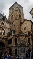 Tour du Beffroi - English: Rouen - Rue du Gros-Horloge - ICE Photocompilation Viewing South on XIV Century Beffroi / Belfry & Fountain 1743