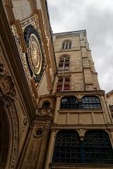 Tour du Beffroi - English: Rouen - Rue du Gros-Horloge - View SSW & Up on le Gros-Horloge 1389 & Beffroi / Belfry