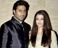 Ferme du Couvent - English: Abhishek Bachchan(left) and Aishwarya Rai Bachchan(right) at actress Asin's birthday party, October 2013.