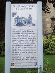 Eglise Saint-Ouen de Longpaon - Français:   Panneau MH de St Ouen de Longpaon.