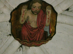 Ancienne abbaye Saint-Pierre - L'une des deux clés de voûte du chœur de l'église abbatiale Saint-Pierre d'Airvault, Deux-Sèvres, France