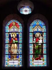 Eglise Saint-Hilaire - Français:   Vitrail représentant Sainte Radegonde et Saint Joseph, église Saint-Hilaire de Gourgé, Deux-Sèvres, France