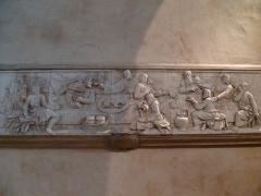 Cathédrale Saint-Jean et Saint-Etienne - Bas relief représentant la Cène par Claude Arnoux dit Lullier (sculpteur franc-comtois) au XVIe siècle. Ce relief devais être un élément du Jubé de la cathédrale Saint-Jean de Besançon.