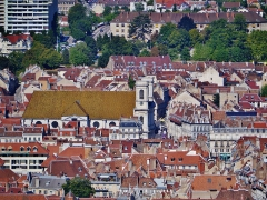 Eglise de la Madeleine - Deutsch: Blick von der Zitadelle auf Besancon, Besancon, Département Doubs, Region Franche-Comté (heute Burgund-Franche-Comté), Frankreich