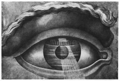 Théatre municipal - English: Interior of the municipal theatre of Besançon (built by Ledoux in 1784), seen in the mirror of an eye.