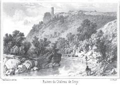 Château de Scey (également sur commune de Cléron) - Français:   Gravure représentant les ruines du château de Scey
