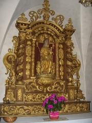 Eglise - Français:   Statue de Notre-Dame de Lausanne, en bois polychrome, dans l\'église des Hôpitaux-Neufs (IMH)