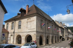 Bailliage -  Townhall n(Le Mairie) of Ornans in traditional style and always decorated with French flags