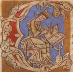 Château - English: Miniature representing the Pope Calisto II in the prologue of the Codex Calixtinus