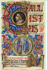 Château - English: Pope Callistus II. on card with his coat of arms