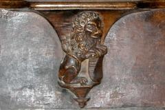 Eglise Saint-Antoine - Français:   Miséricorde de l\'église Saint-Antoine de Nozeroy (Jura) Lion héraldique