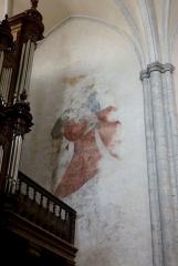 Eglise Saint-Hippolyte - Deutsch: Ehemalige Kollegiatskirche St-Hippolyte in Poligny im Département Jura in der Region Franche-Comté(Frankreich), Wandmalerei auf der Orgelempore, Darstellung: hl. Christophorus