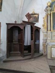 Eglise paroissiale Saint-Aignan - Français:   Confessional de l'église Saint-Aignan de Ruffey-sur-Seille (Jura).