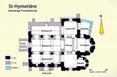 Eglise - Deutsch: Prioratskirche St-Hymetière, Grundriss, Handskizze