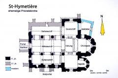Eglise - Deutsch: St-Hymetière, Grundriss, Handskizze