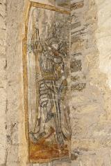 Eglise - Deutsch: Saint-Hymetière, (Jura), Frankreich, Fresko, Bogenschütze, selbst von einem Pfeil getroffen