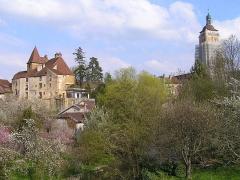 Château Bontemps -  Le château Bontemps, et le clocher de Saint-Just qui dominent les vergers du bord de la Cuisance.
