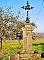 Croix en pierre située sur la place publique - Français:   La croix Dadaille se trouve à l\'entrée nord du village de Chariez