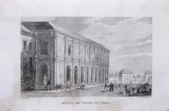 Hôtel de ville -  Façade de l'hôtel de ville en 1836