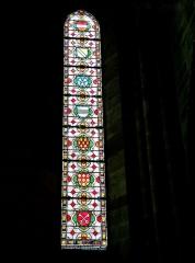 Ancienne abbaye Saint-Colomban - Vitrail de l'abbatiale de la ville de Luxeuil-les-Bains. Département Haute-Saône. France.