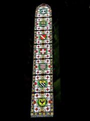 Ancienne abbaye Saint-Colomban - Vitrail (2). de l'abbatiale de la ville de Luxeuil-Les-Bains. Département de la Haute-Saône. France.