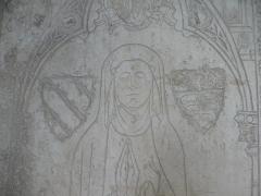 Ancienne abbaye de Clarisses-Urbanistes - Français:   Pierre tombale d\'Héloïse de Joinville, fondatrice du couvent de Montigny-lès-Vesoul (morte en 1312). À l\'origine dans l\'église conventuelle. Désormais au musée Georges-Garret, Vesoul, 925.1.1