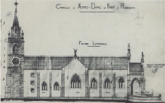 Chapelle Notre-Dame-du-Haut - Deutsch: Risszeichnung der Kapelle Notre Dame du Haut, die 1922 neu errichtet wurde