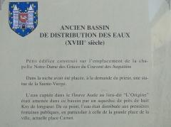 Ancien bassin de distribution des eaux - Français:   Ancien bassin de distribution des eaux; panneau d\'information.