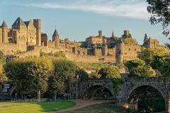 Pont-Vieux - English: Carcassonne - Pont Neuf - View SSE on Old Bridge & Citadel - Porte d'Aude