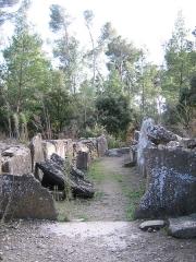 Monument mégalithique, dit Allée couverte de Saint-Eugène, sur le domaine de Russol - Français:   Allée couverte de Saint Eugène, Laure-Minervois, Aude