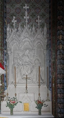 Eglise Saint-Vincent -  The Chapel of the Rosary altar: Our Lady in the center with St. Catherine of Siena on her right and St. Dominic on her left..
