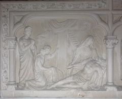 Eglise Saint-Vincent -  Descent from the cross, panel of the wings of the tabernacle of the chapel of Purgatory (19th c.).