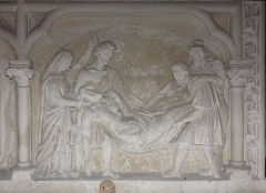 Eglise Saint-Vincent -  Entombment of Christ, panel of the wings of the tabernacle of the chapel of Purgatory (19th c.).