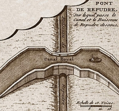 Canal du Midi : Aqueduc du Répudre - English:   Detail of a map of Canal du Midi from the late 17. century, slightly retouched
