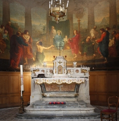 "Chapelle des Pénitents-Blancs -  Altarpiece of the altar: ""The Pentecost"", picture by Xavier Sigalon, (1818)."