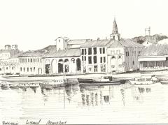 Eglise Saint-Paul, ancienne église des Cordeliers - Français:   Dessin à la plume du canal de Beaucaire.