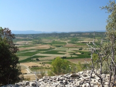 Oppidum -  The village of Nages is dominated by the two Gaulish oppidums of Roque de Viou, and of Nages on the Roque de Viou hill to the north. Panorama.