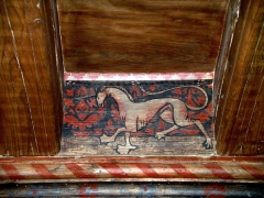 Hôtel de Piolenc, dit Maison des Chevaliers - Français:   détail d\'une licorne peinte sur le plafond de la salle d\'apparat au premier étage de la maison des chevaliers, Pont-Saint-Esprit, Gard, France.