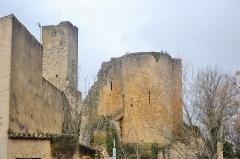 Ancien château - Français:   Ruines du château de Roquemaure, surplombé de la Tour Carrée