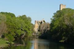Ancien château - Français:   Tour et bras du Rhône à Roquemaure