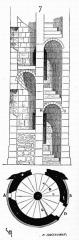 Ancienne abbaye de Saint-Gilles - Schéma d'un escalier à vis (type