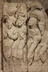 Maison romane - Deutsch: Romanisches Relief in der Sammlung des Romanischen Hauses (Maison romane) in Saint-Gilles-du-Gard, einer Gemeinde im Département Gard in der französischen Region Languedoc-Roussillon, Darstellung: vier Apostel