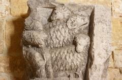 Maison romane - Deutsch: Romanisches Relief in der Sammlung des Romanischen Hauses (Maison romane) in Saint-Gilles-du-Gard, einer Gemeinde im Département Gard in der französischen Region Languedoc-Roussillon, Darstellung: Schafe
