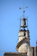 Beffroi -  Detail of the clocktower with bells at Sommieres