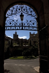 Ancien évêché - English:  The clock tower, seen from the courtyard of the former Bishop's Palace.