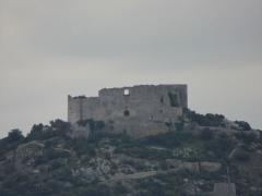 Ruines du Castellas - Occitan:   Castellas de Saint-Victor-la-Coste (vue depuis la cave des vignerons).