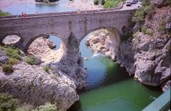 Pont sur l'Hérault, dit Pont du Diable (également sur commune de Saint-Jean-de-Fos) -  Gorges du Herault, 15 August 1992, Olympus AF10 camera, scanned from the negative Sept 2010  <a href=